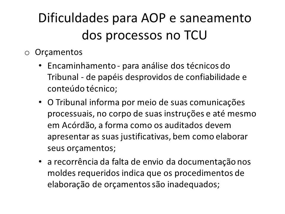 Dificuldades para AOP e saneamento dos processos no TCU