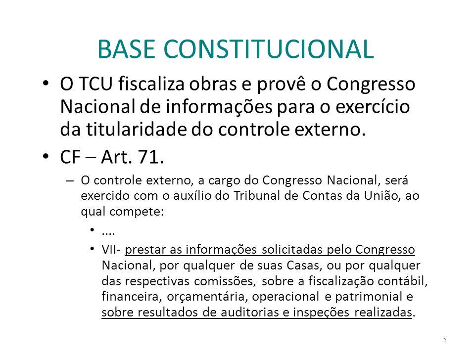 BASE CONSTITUCIONAL O TCU fiscaliza obras e provê o Congresso Nacional de informações para o exercício da titularidade do controle externo.