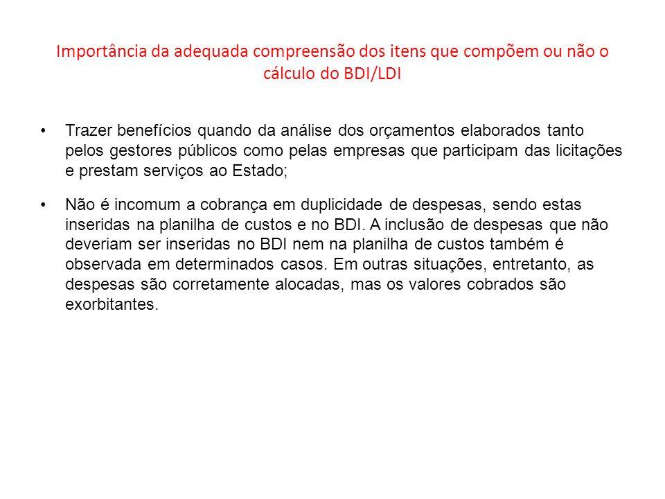 Importância da adequada compreensão dos itens que compõem ou não o cálculo do BDI/LDI
