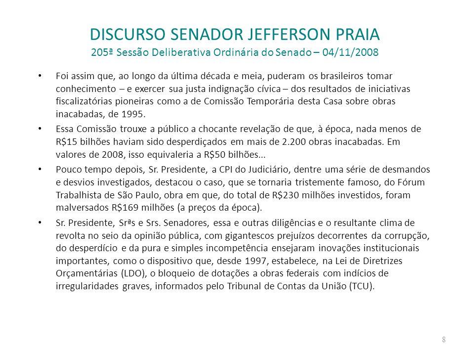 DISCURSO SENADOR JEFFERSON PRAIA 205ª Sessão Deliberativa Ordinária do Senado – 04/11/2008