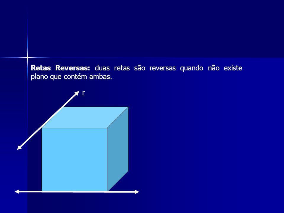 Retas Reversas: duas retas são reversas quando não existe plano que contém ambas.
