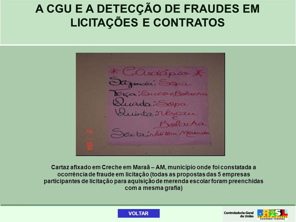 Cartaz afixado em Creche em Maraã – AM, município onde foi constatada a ocorrência de fraude em licitação (todas as propostas das 5 empresas participantes de licitação para aquisição de merenda escolar foram preenchidas com a mesma grafia)