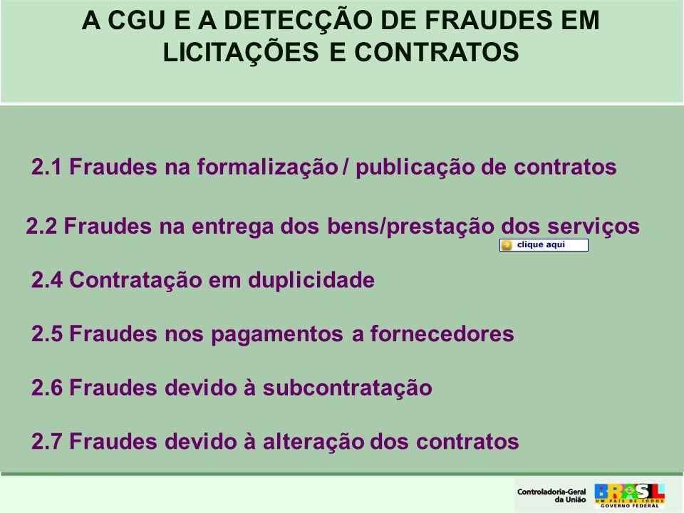 2.1 Fraudes na formalização / publicação de contratos