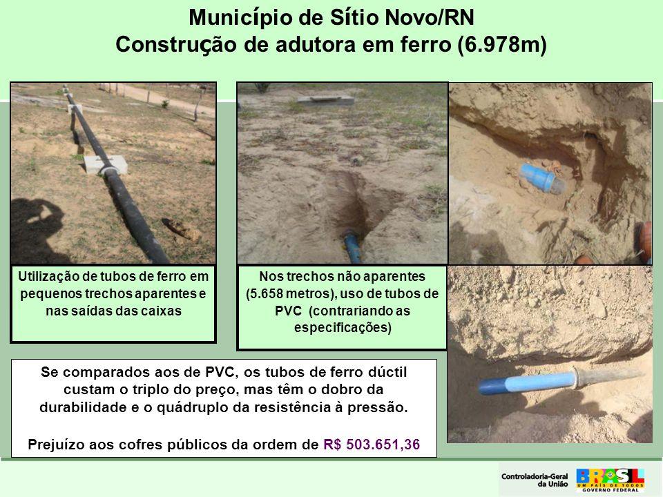 Município de Sítio Novo/RN Construção de adutora em ferro (6.978m)