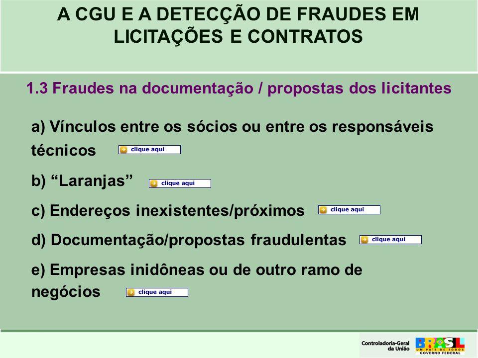 1.3 Fraudes na documentação / propostas dos licitantes