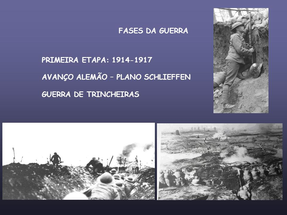 FASES DA GUERRA PRIMEIRA ETAPA: 1914-1917 AVANÇO ALEMÃO – PLANO SCHLIEFFEN GUERRA DE TRINCHEIRAS