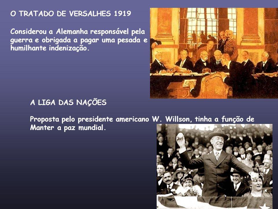 O TRATADO DE VERSALHES 1919 Considerou a Alemanha responsável pela. guerra e obrigada a pagar uma pesada e.