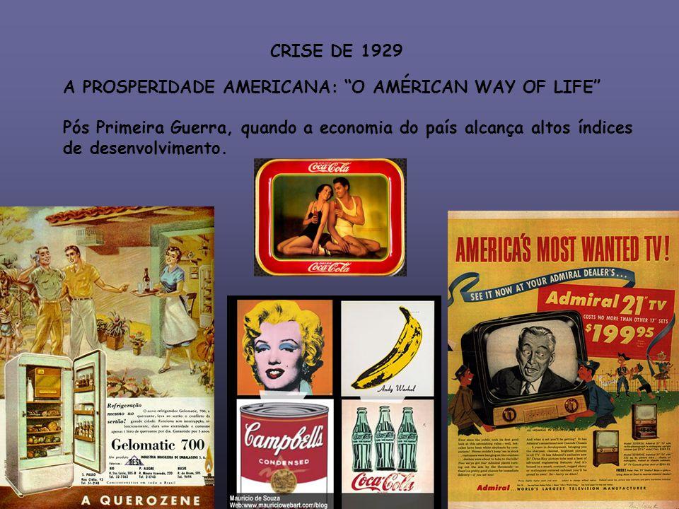 CRISE DE 1929 A PROSPERIDADE AMERICANA: O AMÉRICAN WAY OF LIFE Pós Primeira Guerra, quando a economia do país alcança altos índices.