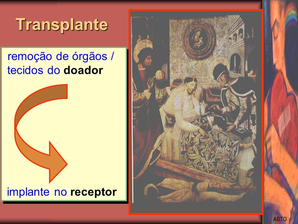Transplante remoção de órgãos / tecidos do doador implante no receptor