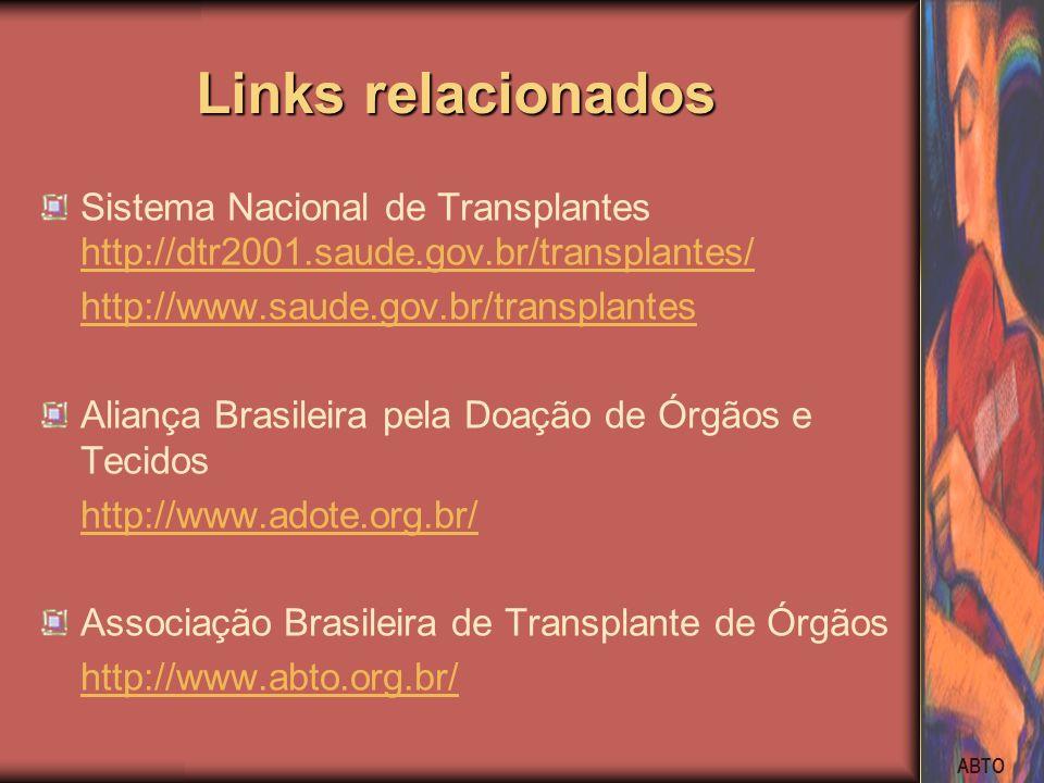 Links relacionados Sistema Nacional de Transplantes http://dtr2001.saude.gov.br/transplantes/ http://www.saude.gov.br/transplantes.