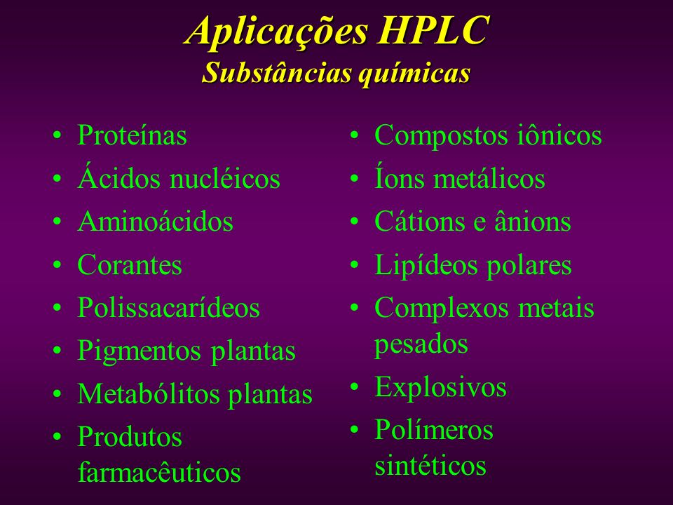 Aplicações HPLC Substâncias químicas