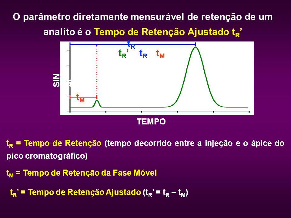 O parâmetro diretamente mensurável de retenção de um analito é o Tempo de Retenção Ajustado tR'