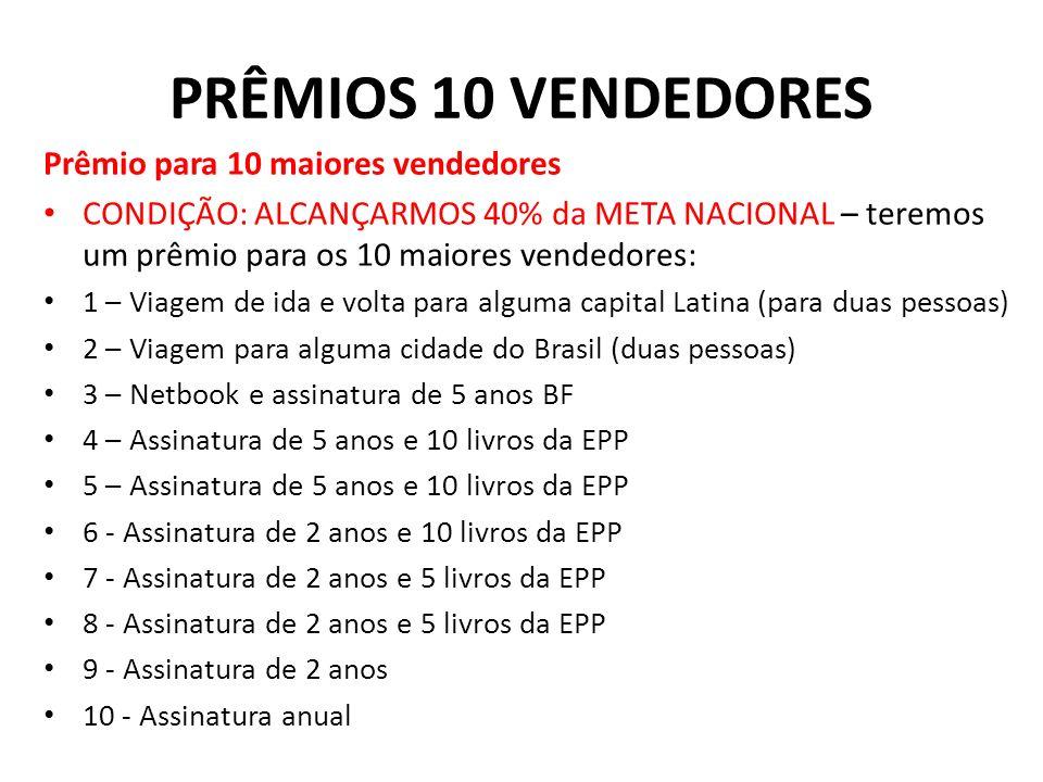 PRÊMIOS 10 VENDEDORES Prêmio para 10 maiores vendedores