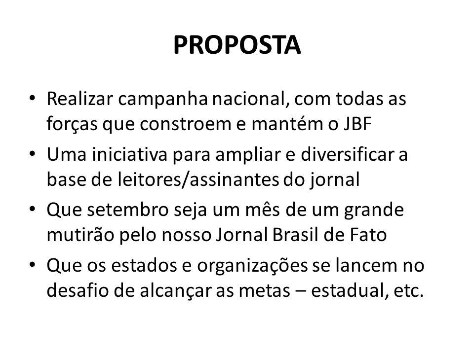 PROPOSTA Realizar campanha nacional, com todas as forças que constroem e mantém o JBF.