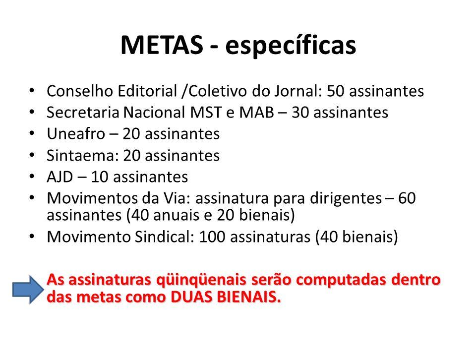 METAS - específicasConselho Editorial /Coletivo do Jornal: 50 assinantes. Secretaria Nacional MST e MAB – 30 assinantes.