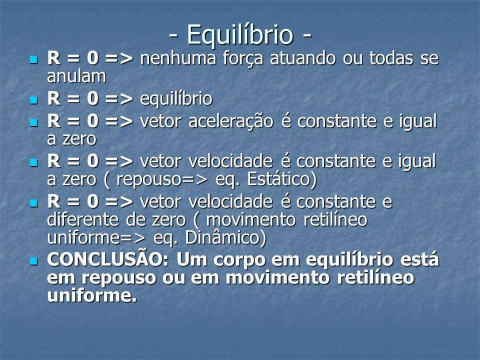 - Equilíbrio - R = 0 => nenhuma força atuando ou todas se anulam