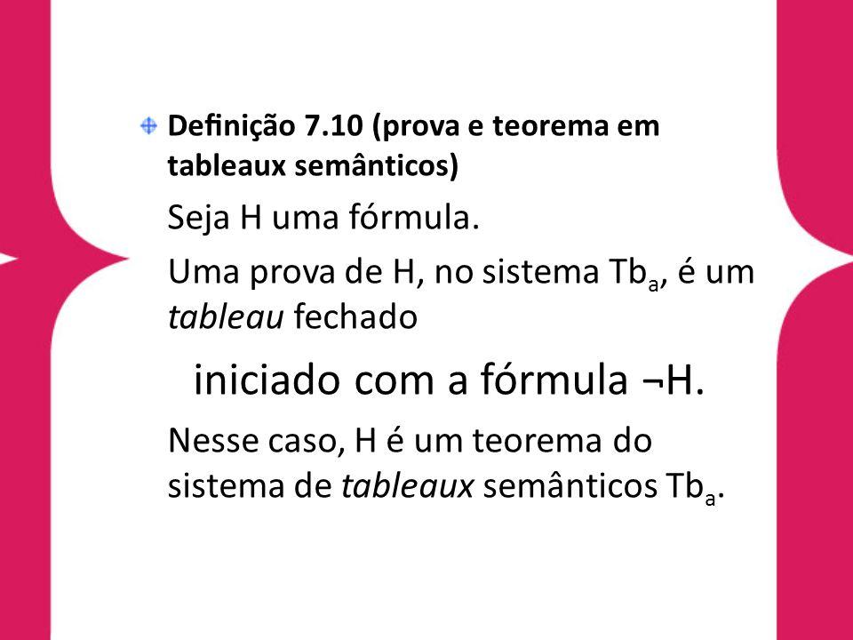 iniciado com a fórmula ¬H.