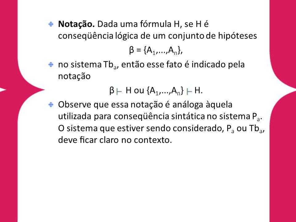 Notação. Dada uma fórmula H, se H é conseqüência lógica de um conjunto de hipóteses