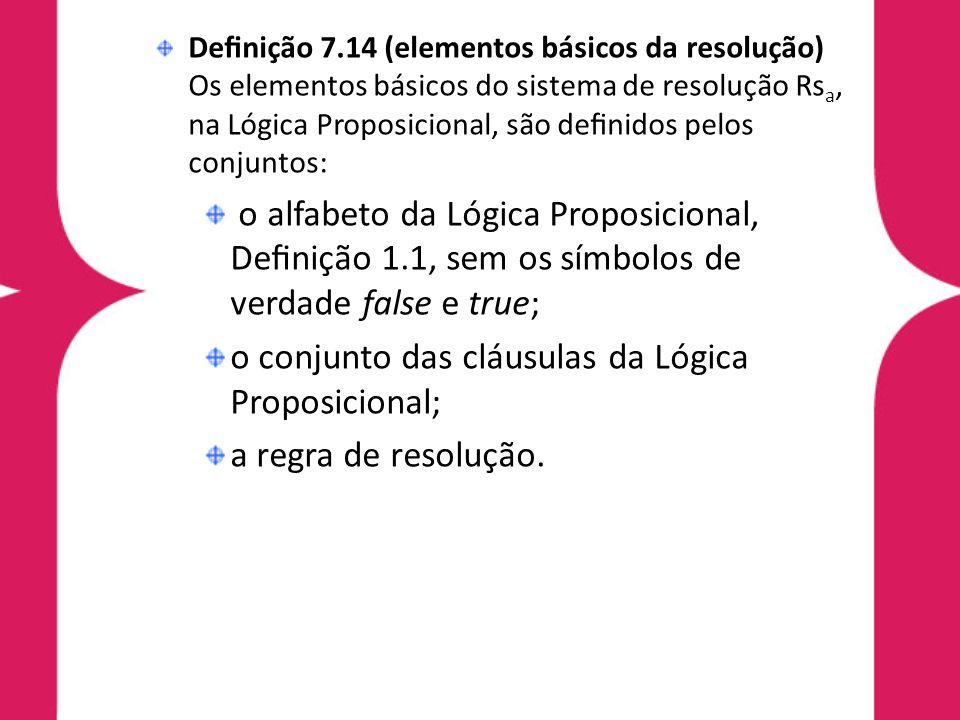o conjunto das cláusulas da Lógica Proposicional;