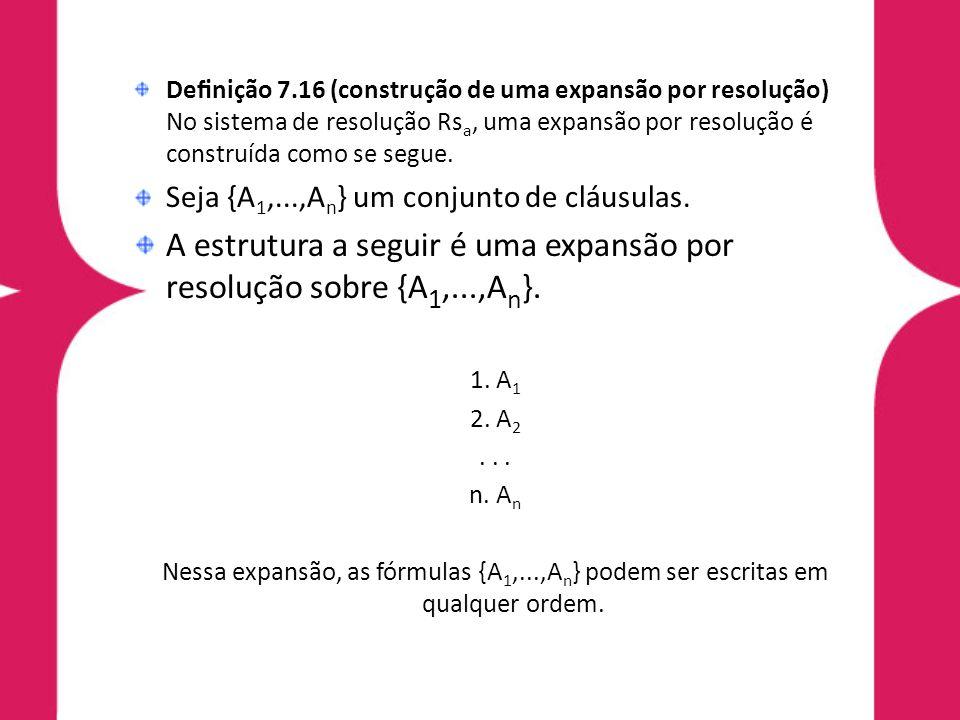 A estrutura a seguir é uma expansão por resolução sobre {A1,...,An}.