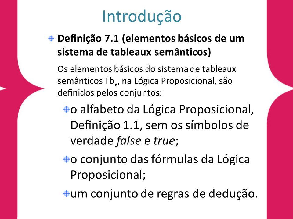 Introdução Definição 7.1 (elementos básicos de um sistema de tableaux semânticos)