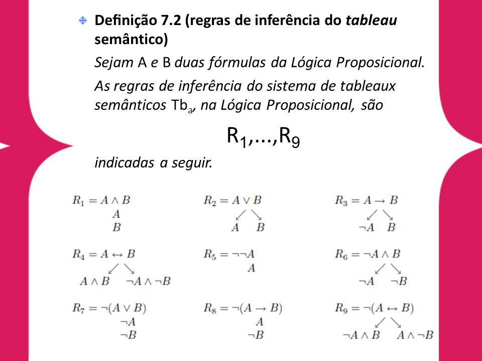 Definição 7.2 (regras de inferência do tableau semântico)