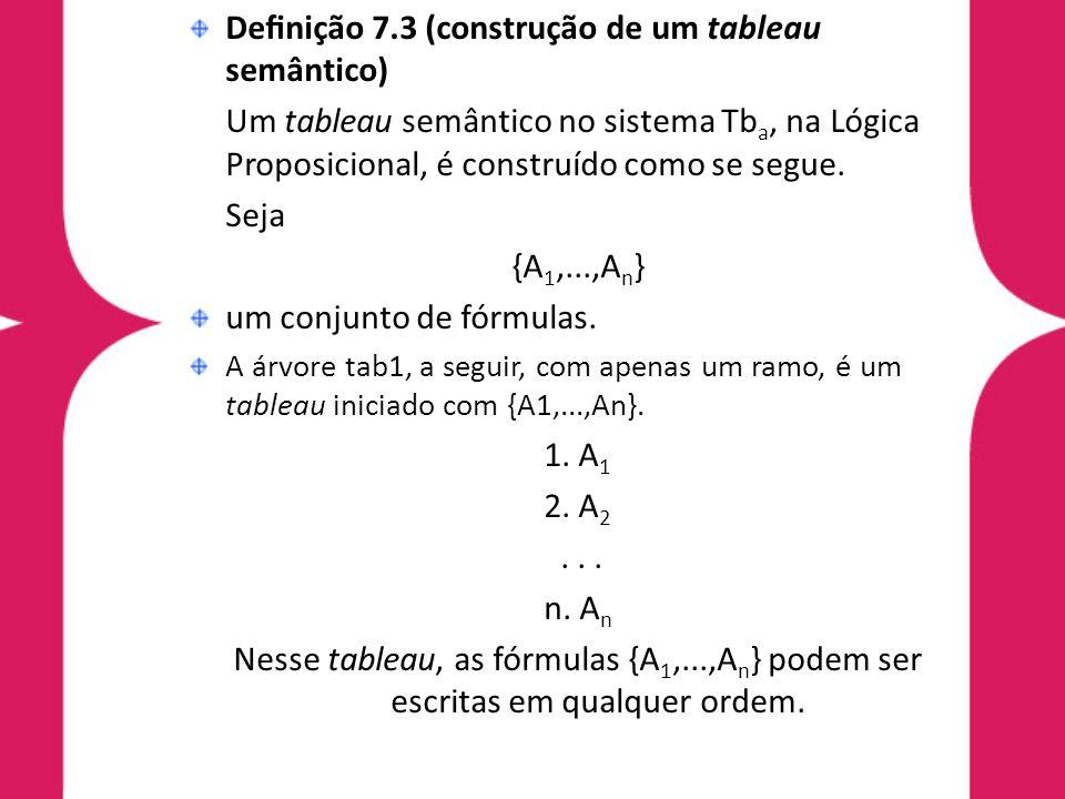 Definição 7.3 (construção de um tableau semântico)