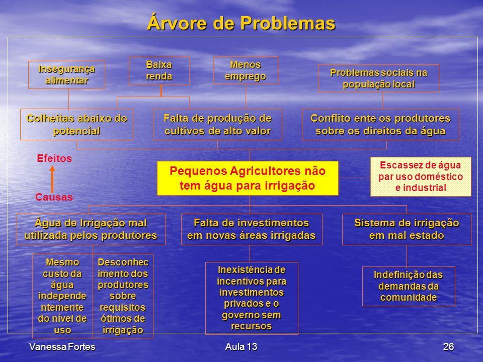 Árvore de Problemas Pequenos Agricultores não tem água para irrigação