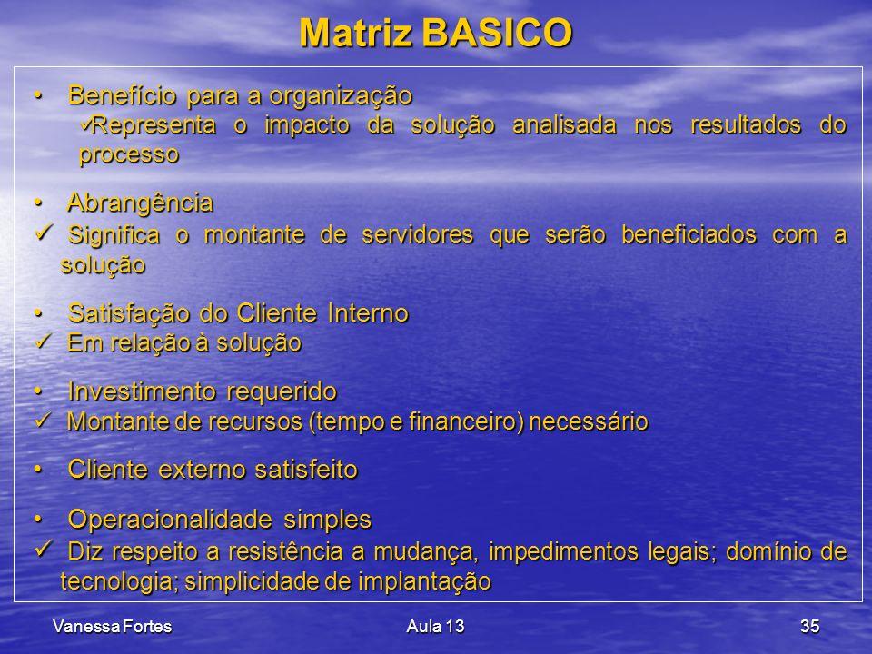 Matriz BASICO Benefício para a organização Abrangência