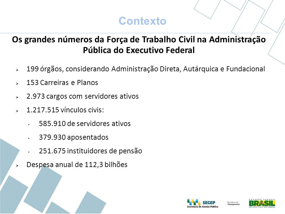 Contexto Os grandes números da Força de Trabalho Civil na Administração Pública do Executivo Federal.