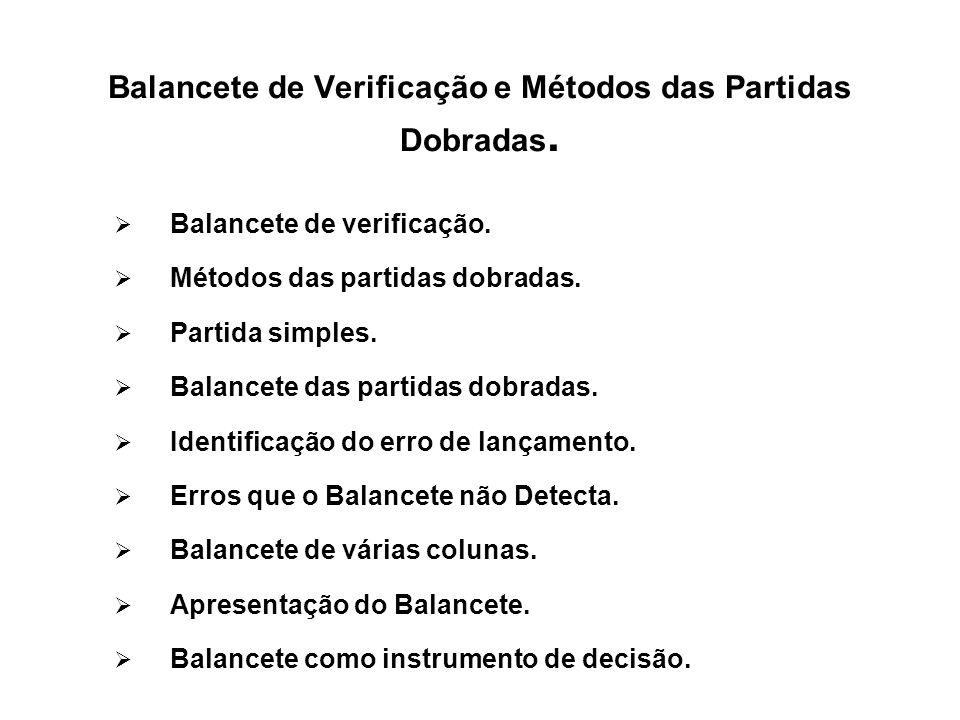 Balancete de Verificação e Métodos das Partidas Dobradas.