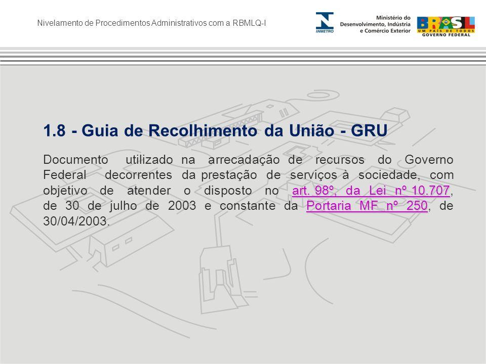 1.8 - Guia de Recolhimento da União - GRU