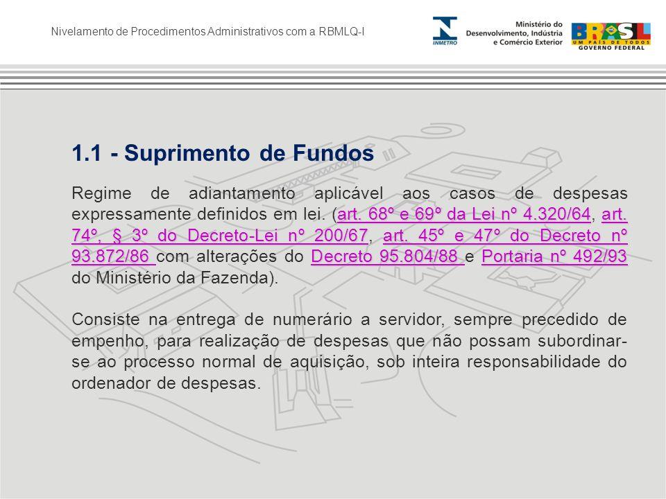 1.1 - Suprimento de Fundos