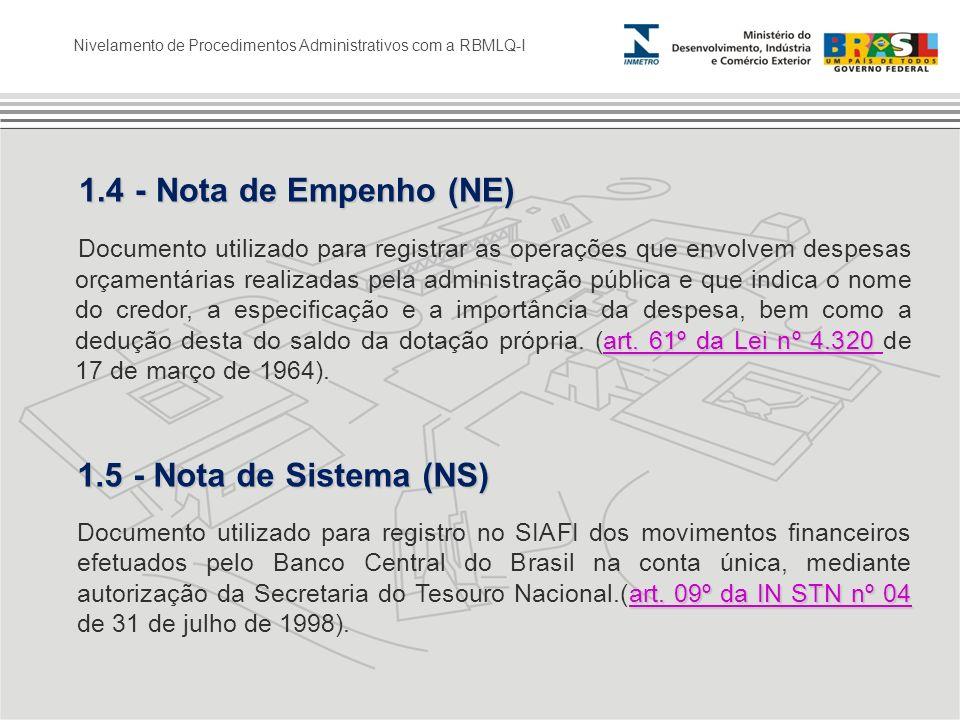 1.5 - Nota de Sistema (NS) 1.4 - Nota de Empenho (NE)