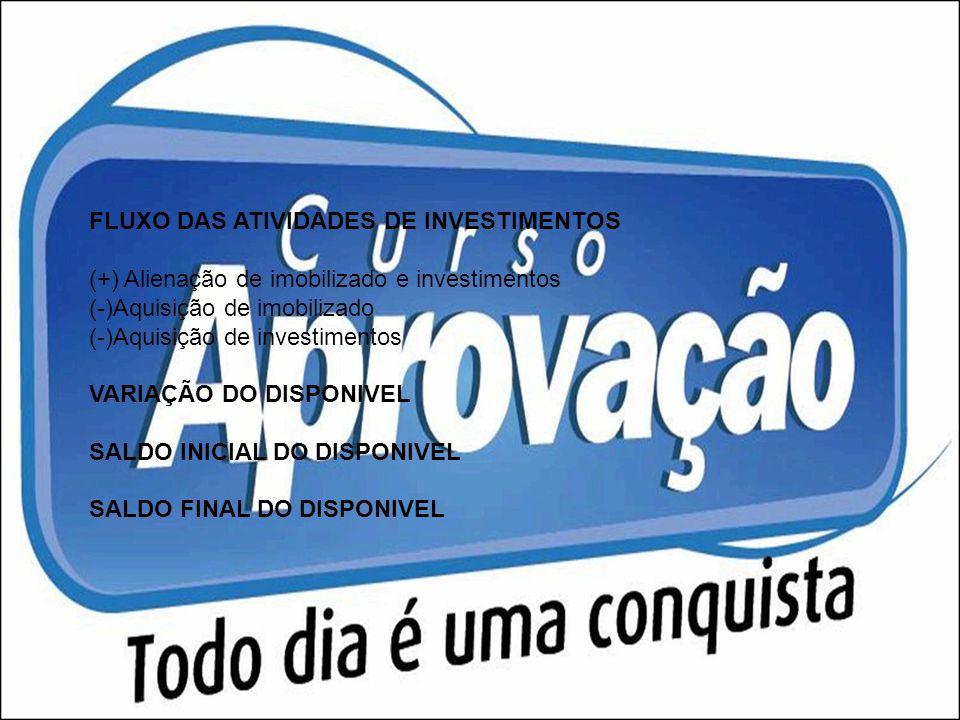 FLUXO DAS ATIVIDADES DE INVESTIMENTOS