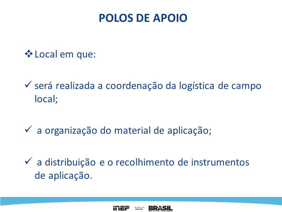 POLOS DE APOIO Local em que: