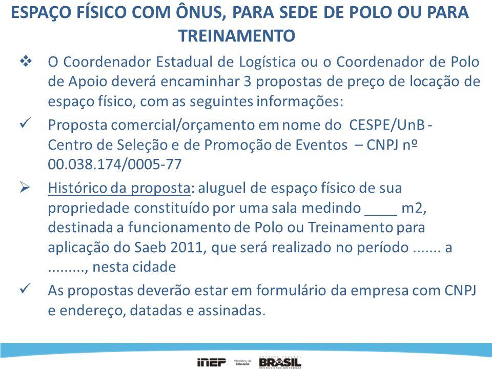 ESPAÇO FÍSICO COM ÔNUS, PARA SEDE DE POLO OU PARA TREINAMENTO