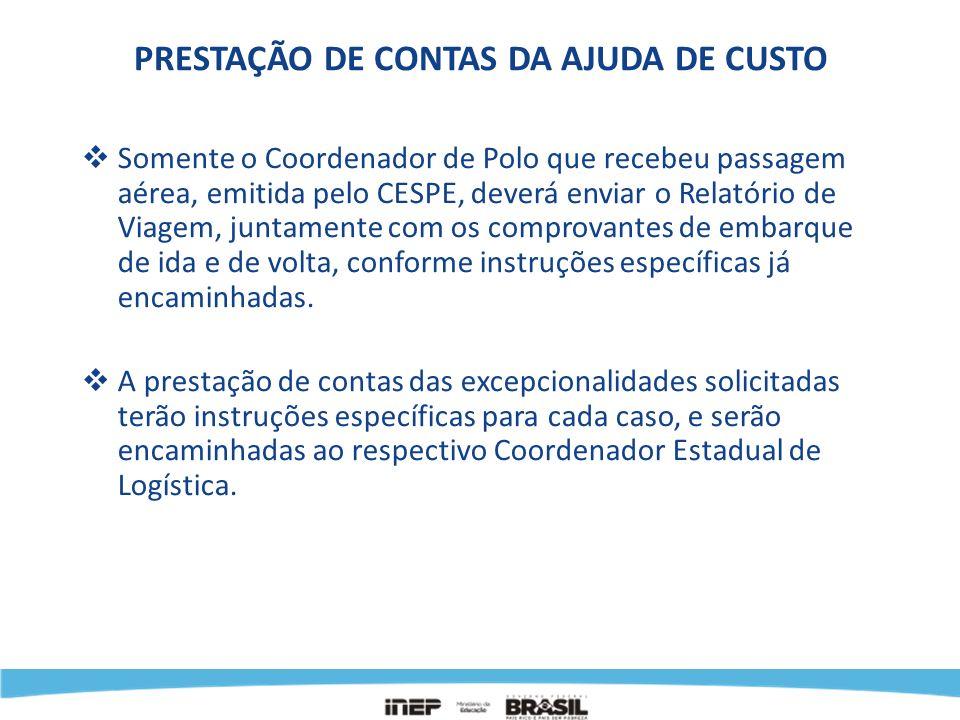 PRESTAÇÃO DE CONTAS DA AJUDA DE CUSTO