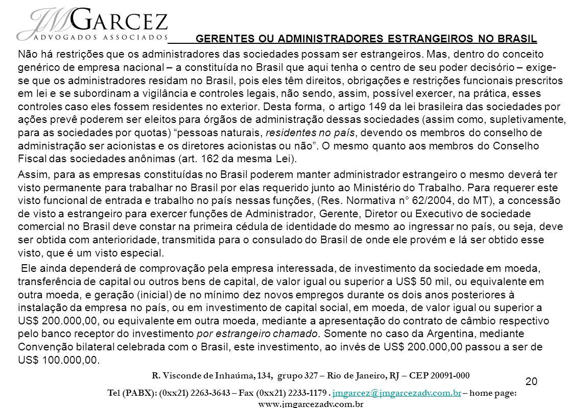 GERENTES OU ADMINISTRADORES ESTRANGEIROS NO BRASIL