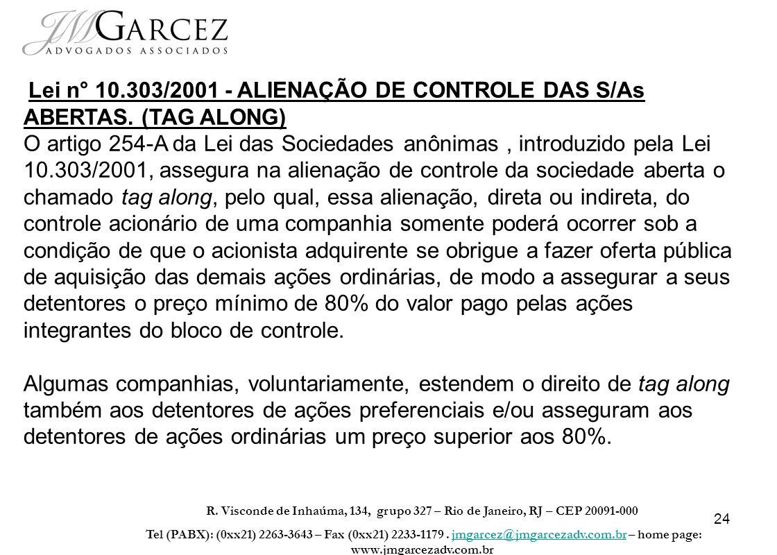 Lei n° 10. 303/2001 - ALIENAÇÃO DE CONTROLE DAS S/As ABERTAS