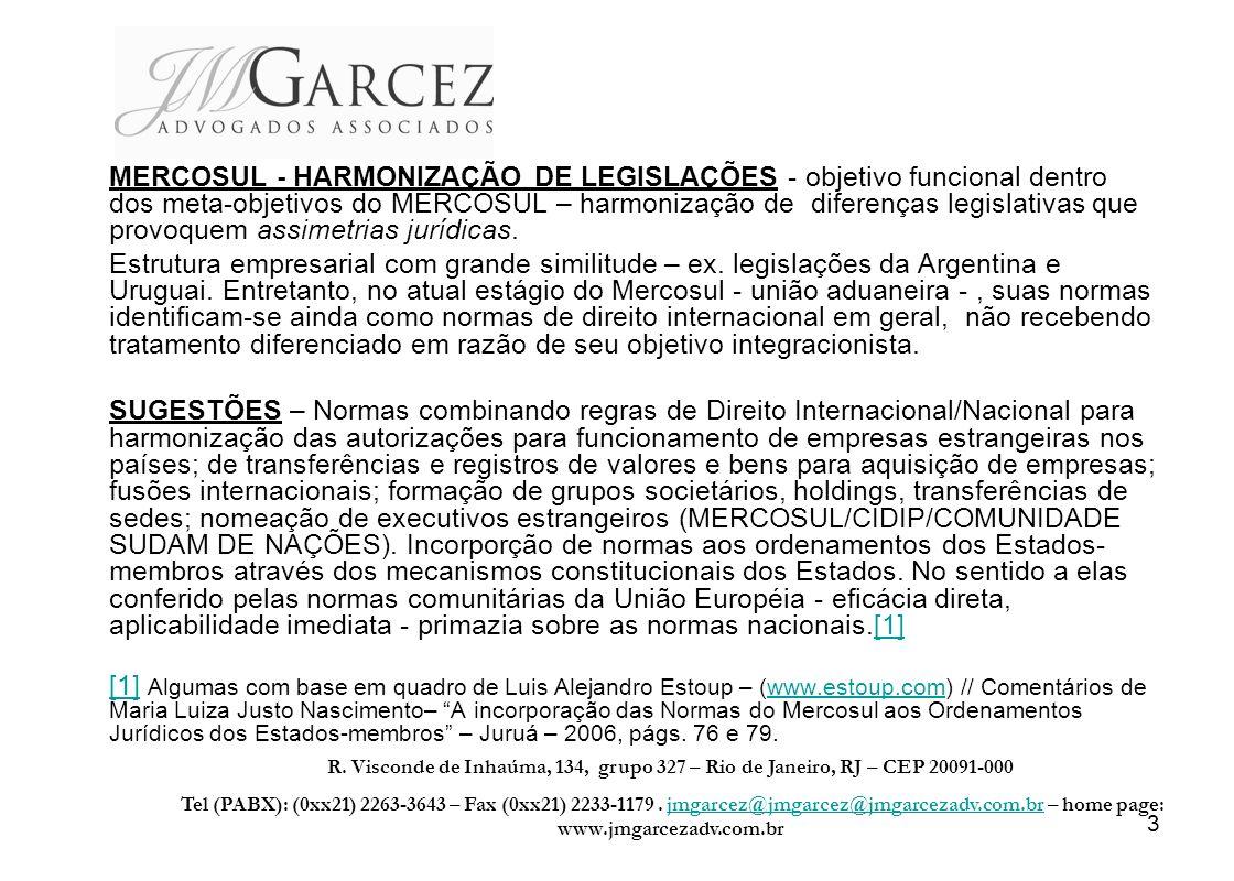 MERCOSUL - HARMONIZAÇÃO DE LEGISLAÇÕES - objetivo funcional dentro dos meta-objetivos do MERCOSUL – harmonização de diferenças legislativas que provoquem assimetrias jurídicas.
