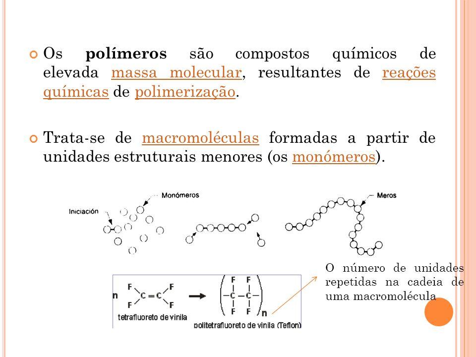 Os polímeros são compostos químicos de elevada massa molecular, resultantes de reações químicas de polimerização.