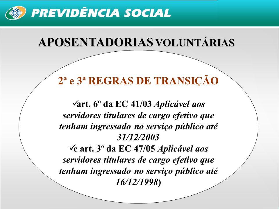 APOSENTADORIAS VOLUNTÁRIAS 2ª e 3ª REGRAS DE TRANSIÇÃO