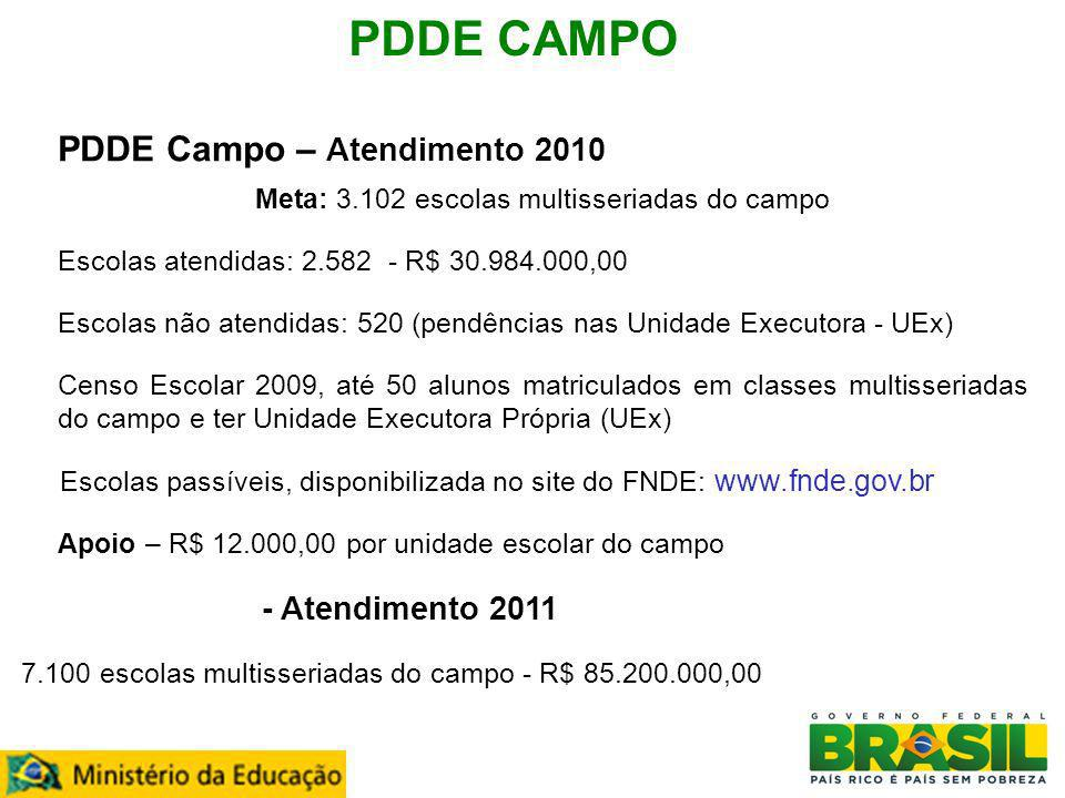 Meta: 3.102 escolas multisseriadas do campo
