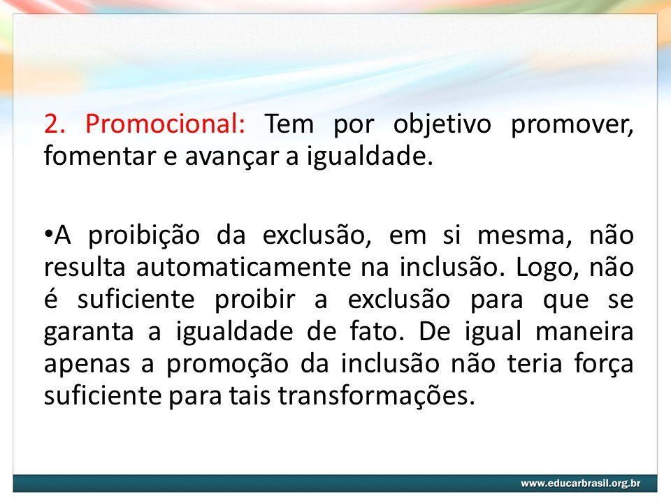 2. Promocional: Tem por objetivo promover, fomentar e avançar a igualdade.