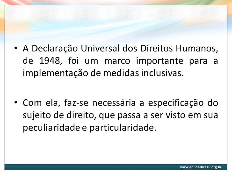 A Declaração Universal dos Direitos Humanos, de 1948, foi um marco importante para a implementação de medidas inclusivas.