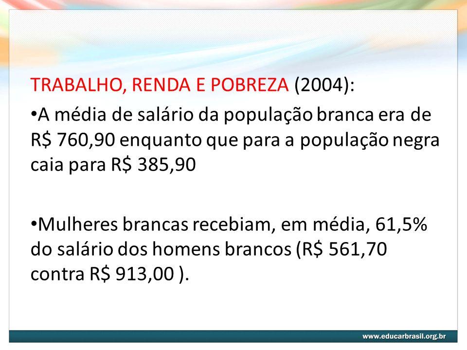 TRABALHO, RENDA E POBREZA (2004):