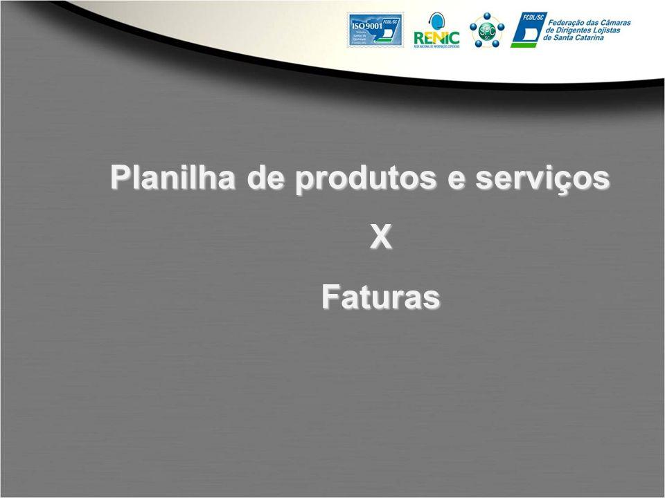 Planilha de produtos e serviços