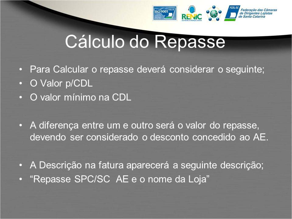 Cálculo do Repasse Para Calcular o repasse deverá considerar o seguinte; O Valor p/CDL. O valor mínimo na CDL.