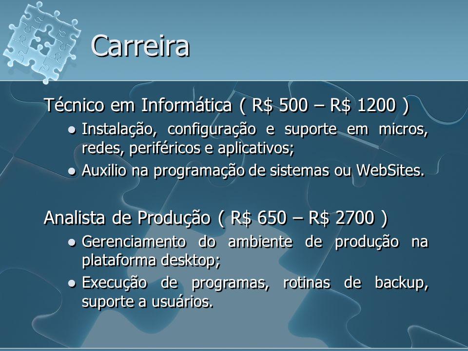 Carreira Técnico em Informática ( R$ 500 – R$ 1200 )